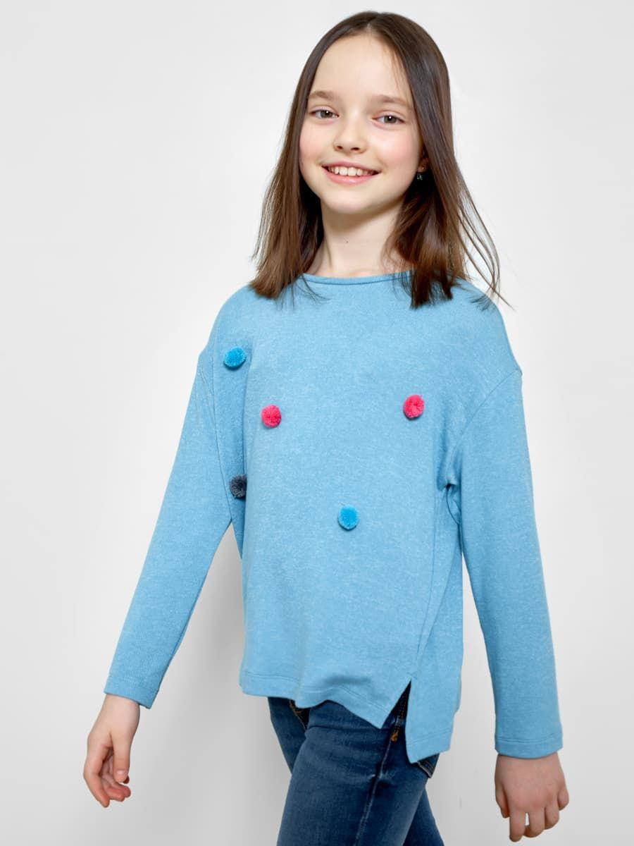 Джемпер для девочек с мини-помпонами от Mark Formelle